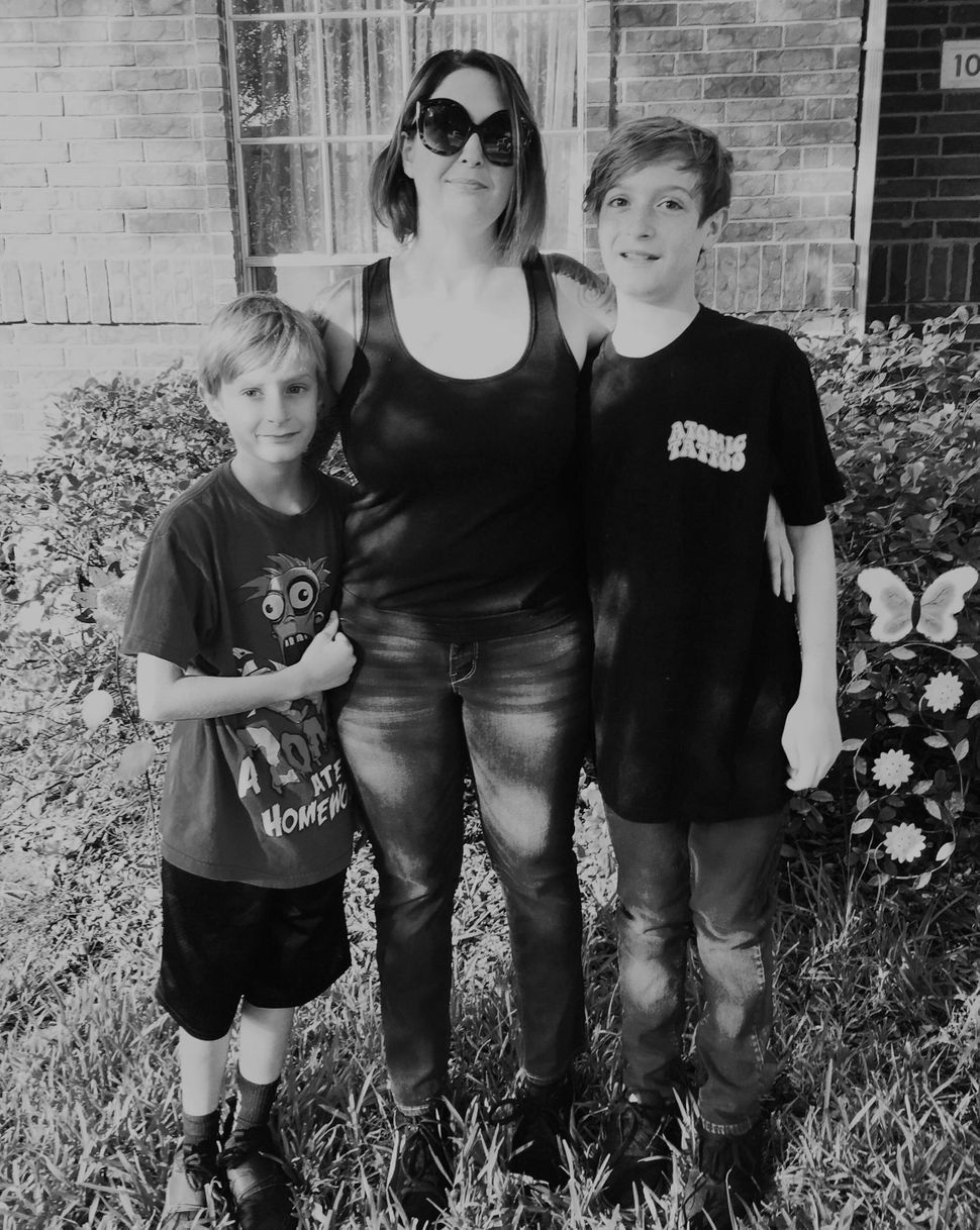 Holly Barentine with her two sons. Hayden is left.
