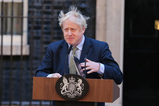 British Prime Minister and leader of the Conservative Party, Boris Johnson speaks at Downing Street after...