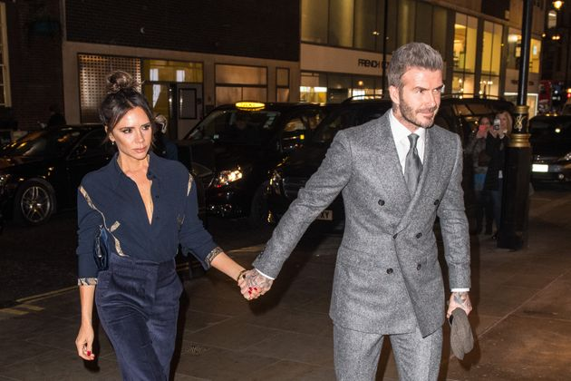 David and Victoria Beckham arrive at the Brasserie of Light at Selfridges in London, for the London Fashion...