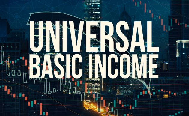 Universal Basic Income theme with Chicago skyscrapers at