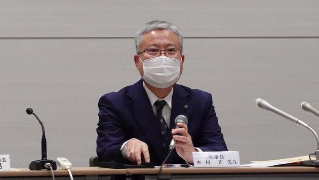会見する日本産科婦人科学会の木村正理事長