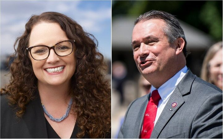 Progressives had high hopes that Democrat Kara Eastman (left) would unseat Republican Rep. Don Bacon in an Omaha, Nebraska-ar