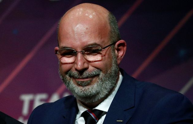 Italy's 5-Star Movement's new caretaker leader Vito Crimi poses after a news conference with Italy's...