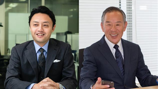 左:東大の松尾豊教授。右:ウエスタンデジタルジャパンの小池淳義社長
