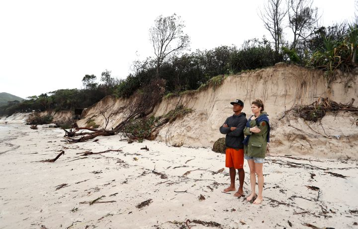 Long stretch of coastal areas have disappeared due to erosion along the beach side, December 14, 2020 in Byron Bay, Australia. Byron Bay's beaches face further erosion as wild weather and hazardous swells lash the northern coastlines of New South Wales.