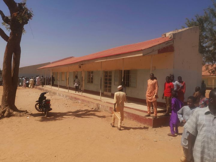 People gather inside the Government Science Secondary School in Kankara, Nigeria, on Dec. 12, 2020.