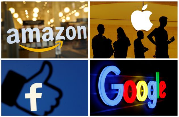 The logos of Amazon, Apple, Facebook and Google are seen in a combination photo from Reuters files. REUTERS/File