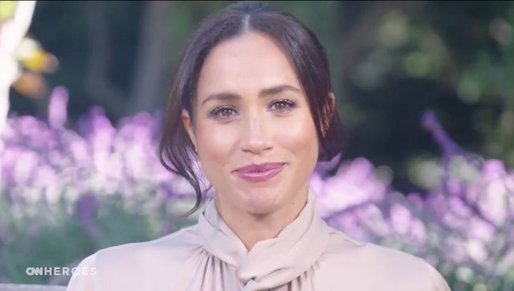 """""""For many families, the impact of the pandemic has been catastrophic, and far too many were faced with the heartbreaking question: How am I going to put food on the table for my family?""""Meghan Markle said in her surprise TV appearance."""