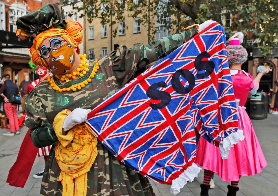 ActorJoe Standerline dressed as a pantomime dame marches on Parliament to demand more support for...