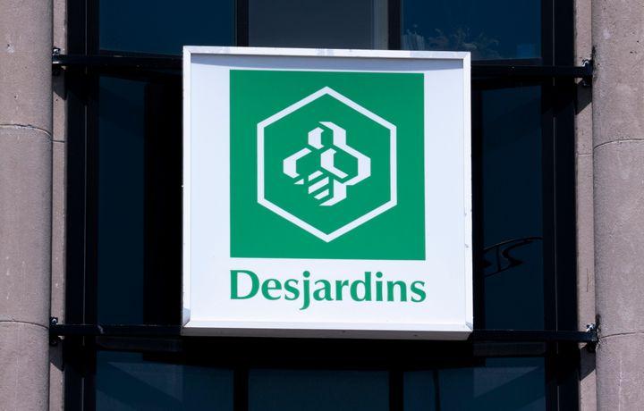 A Desjardins sign is seen in Montreal on June 18, 2019.
