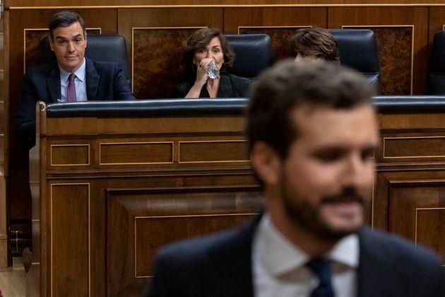 Pedro Sánchez, Carmen Calvo y Pablo