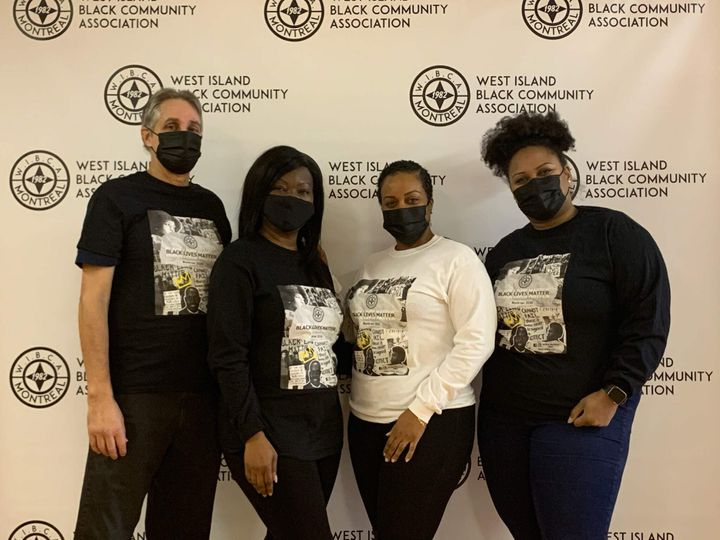 Members of the West Island Black Community Association (from left) Pierre Cote, Joan Lee, Kemba Mitchell and Shaina Thornhill. The Montreal non-profit's Zoom call was hijacked by people yelling racial slurs on Dec. 11, 2020.