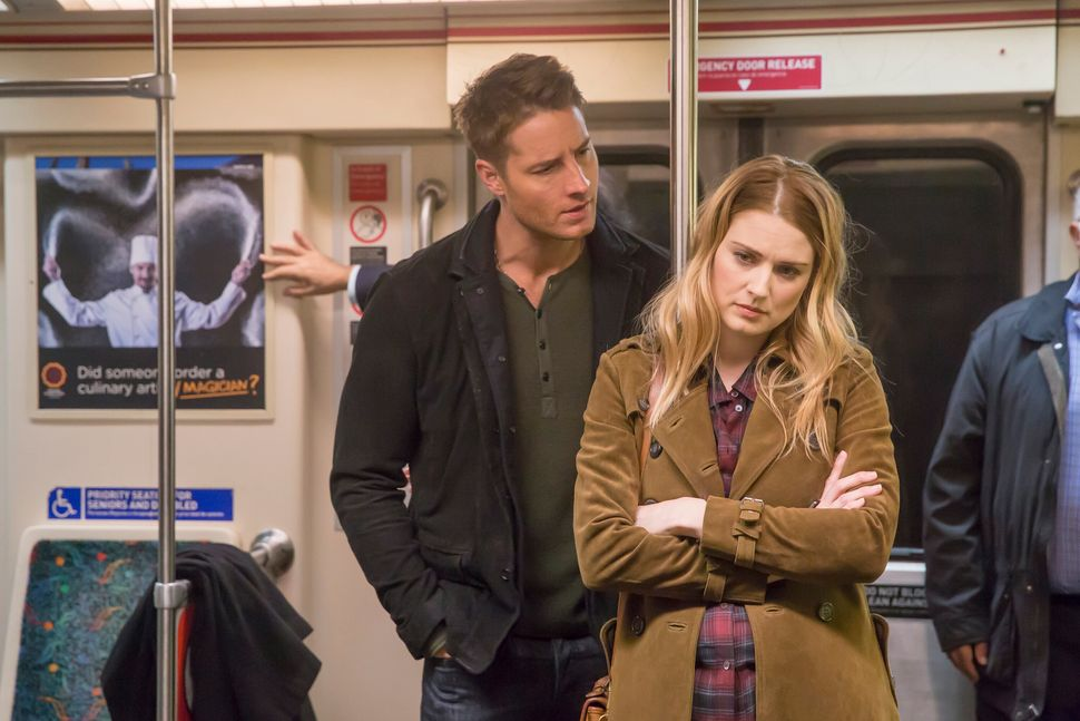 "Justin Hartley as Kevin Pearson and Alexandra Breckenridge as Sophie on ""This Is Us."""