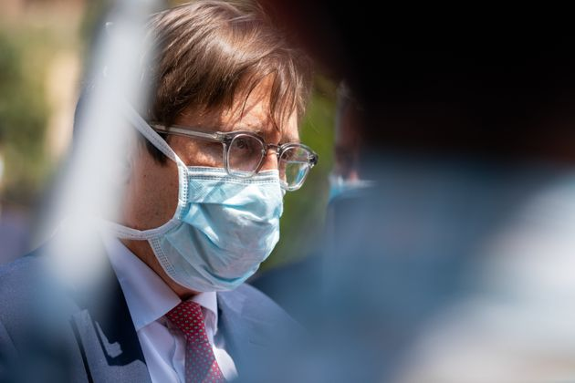 Pierpaolo Sileri with protective mask at the opening of the new Intensive Care Unit for patients with...