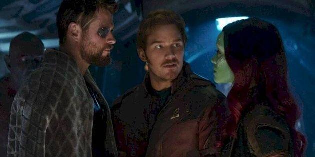 Chris Hemsworth (Thor), Chris Pratt (Star-Lord) y Zoe Saldaña