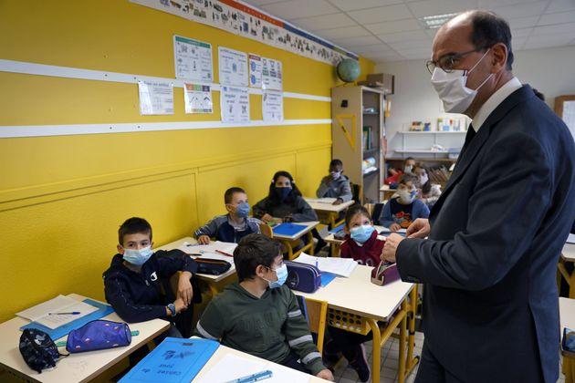 Jean Castex, ici dans une école de Conflans-Sainte-Honorine pour l'hommage à Samuel Paty,...