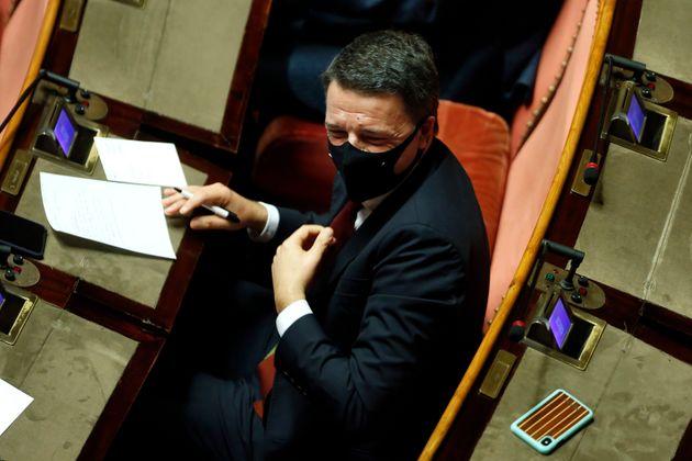 The secretary Of Italia Viva party Matteo Renzi wearing a face mask, during the sitting at the Senate...