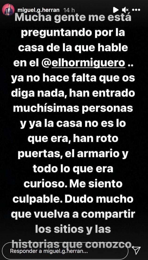 Mensaje del actor Miguel Herrán en su cuenta de