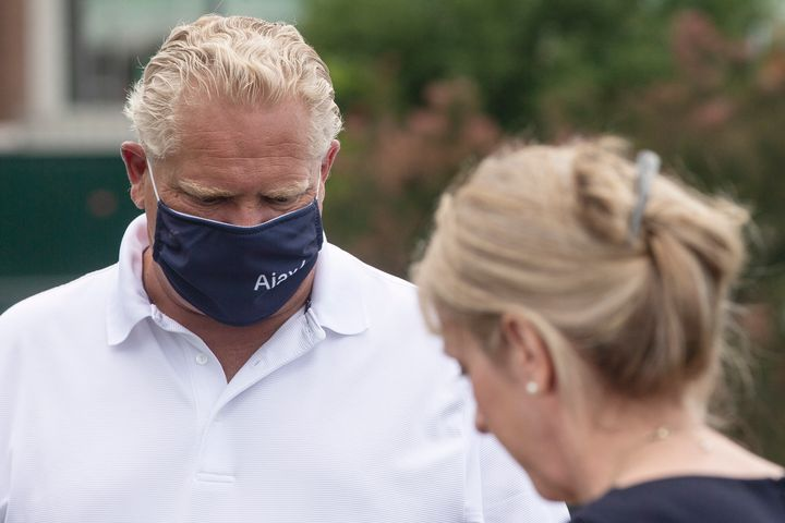 Ontario Premier Doug Ford and Minister of Long-Term Care Merrilee Fullerton make an announcement in Ajax, Ont. on July 28, 2020.
