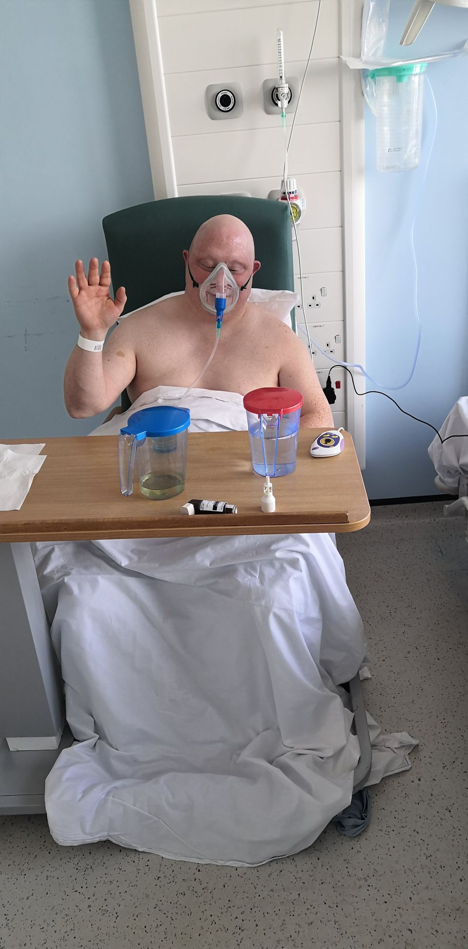 Steven, 43, has Down's syndrome and was admitted to hospital and tested positive. His father John...