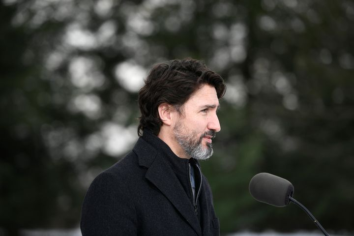 Prime Minister Justin Trudeau speaks at the Dominion Arboretum in Ottawa on Dec. 11, 2020.