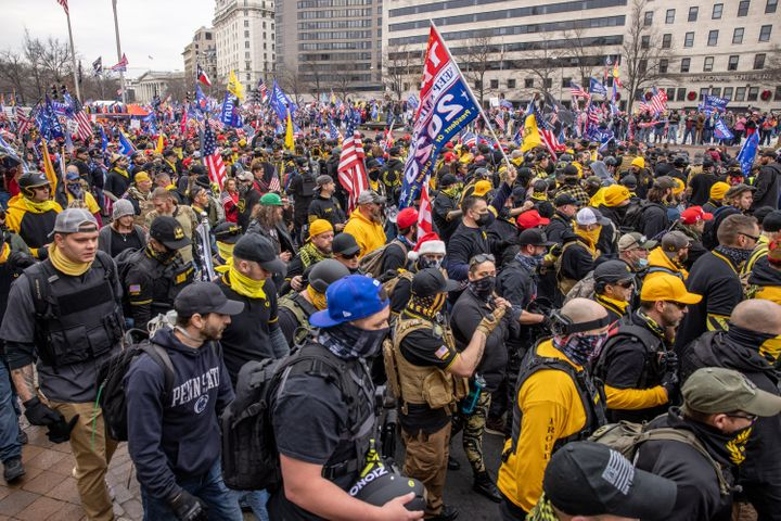 Proud Boys during a rally for Donald Trump in Washington, DC, December 12, 2020.