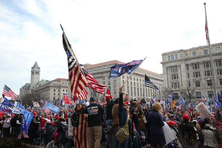 """Pro-Trump protesters gathered during the """"Million MAGA March"""" from Freedom Plaza to the US Capitol in Washington, DC, United"""
