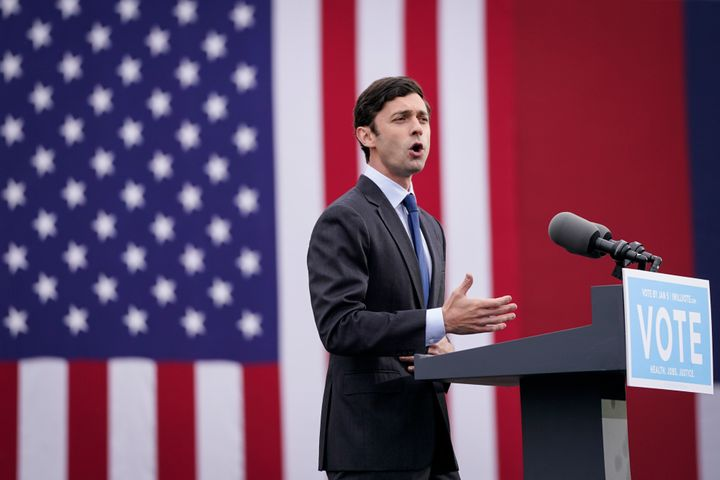 Ossoff at a campaign rally this month. He's facing GOP Sen. David Perdue in a runoff election on Jan. 5.
