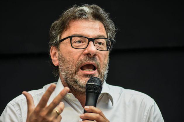 Giancarlo Giorgetti, deputy federal secretary Lega Salvini Premier, talks during the Lega conference,...