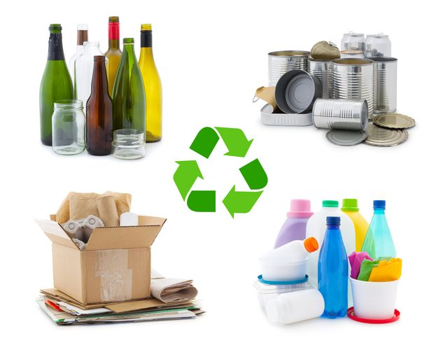 Waste management concept - waste sorting: glass, metal, paper and plastic with recycling symbol isolated...