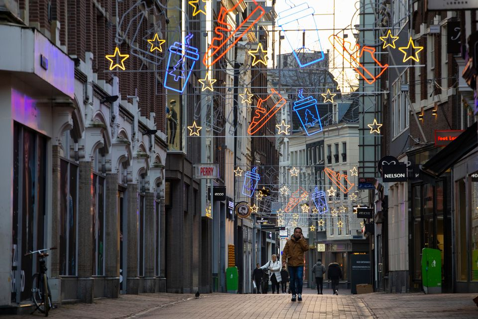 The near-empty Kalverstraat pedestrian shopping street in the centre of Amsterdam, Netherlands, Tuesday,...