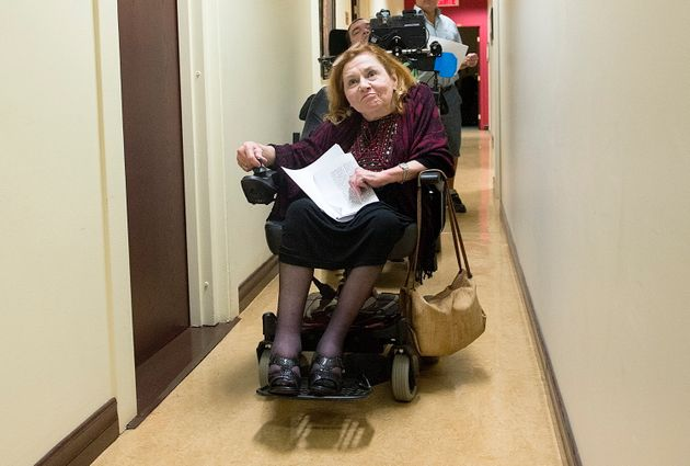Nicole Gladu arrives for a news conference in Montreal, Sept. 12, 2019, giving her reaction to a Quebec...