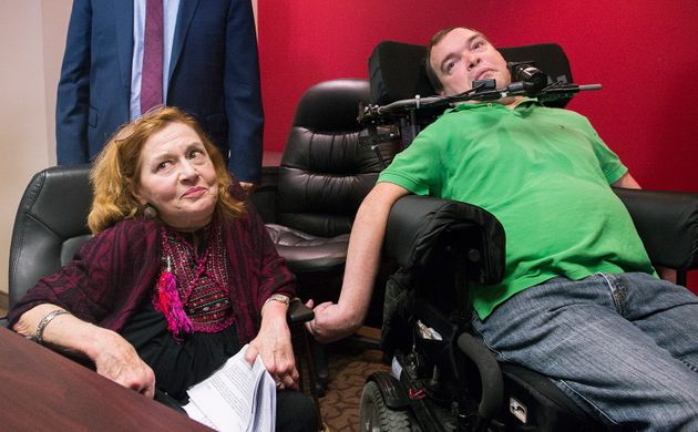 Nicole Gladu, left, and Jean Truchon attend a news conference in Montreal, Sept. 12,
