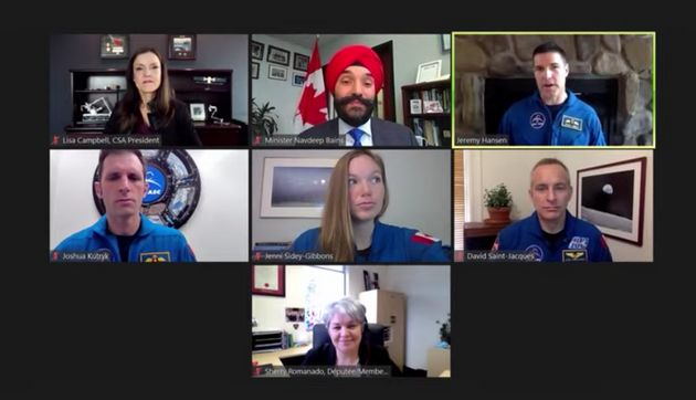 A screenshot from the Canada Space Agency announcement that a Canadian astronaut will join the U.S. in...