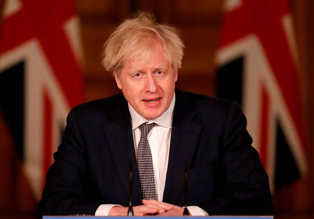 Britain's Prime Minister Boris Johnson speaks during a virtual press conference inside 10 Downing Street...