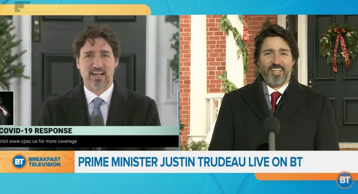Prime Minister Justin Trudeau is interviewed on Breakfast Television on Dec. 16, 2020.