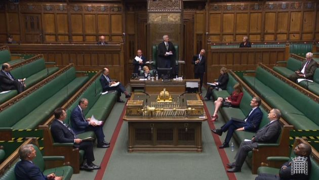 Screen grab of Speaker Sir Lindsay Hoyle speaking during Prime Minister's Questions in the House of Commons,