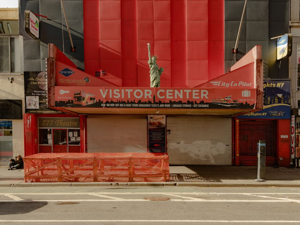 A closed-down visitor center on Eighth Avenue in Manhattan.