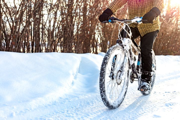 Make sure to bundle up in lots of layers if you're going biking during the winter.