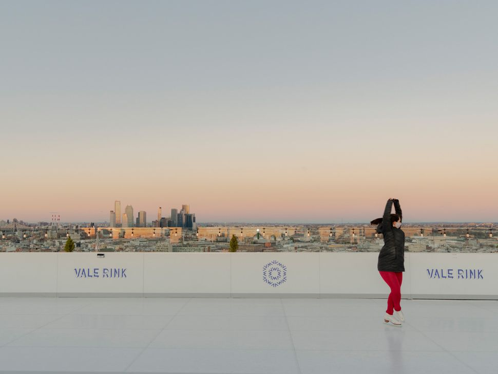 The skating rink on the roof of The William Vale hotel in Williamsburg, Brooklyn.