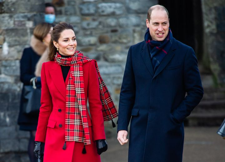 The Duke and Duchess of Cambridge pictured visiting Cardiff Castle on Dec. 9 as part of their three-day royal train tour of the U.K.