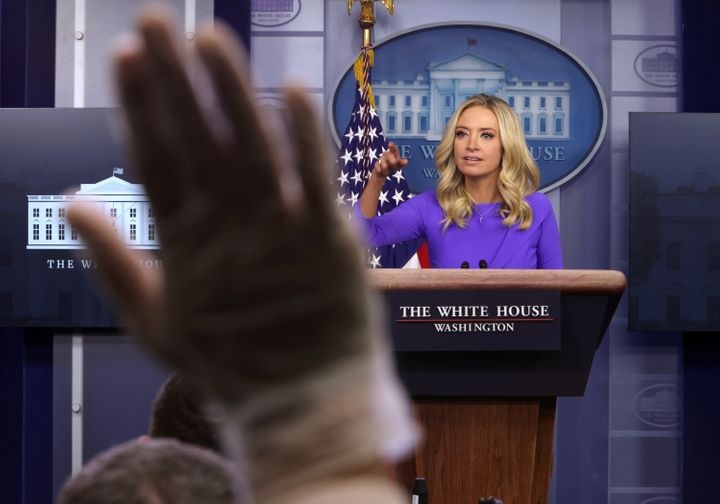 White House press secretary Kayleigh McEnany at the press briefing she held on Tuesday that sparked critical commentary from