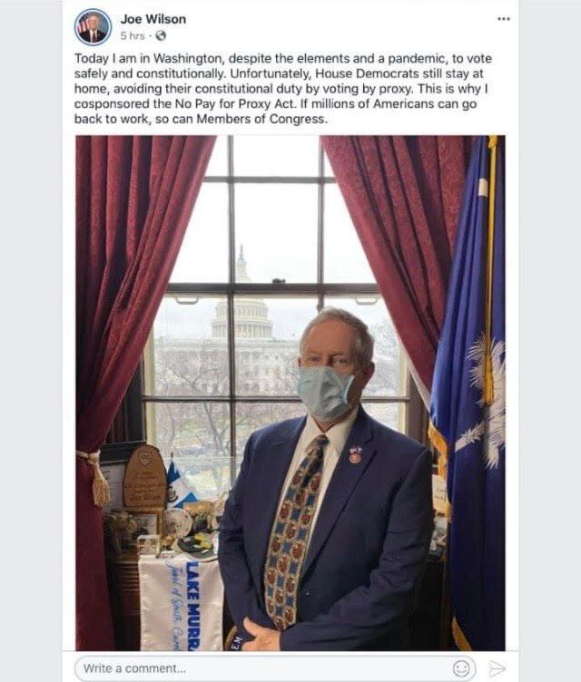 Rep. Joe Wilson (R-S.C.) deleted this Facebook post after receiving a positive COVID-19 diagnosis.