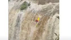増水した30メートルの滝に、自らカヤックごとダイブ。傷だらけの顔で一言「計算済みです」