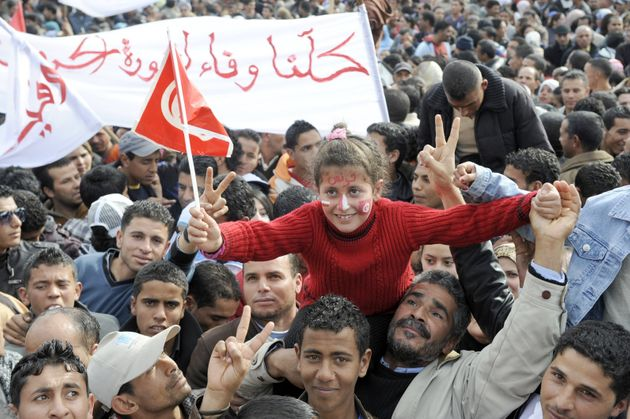 Manifestación en Túnez, durante el levantamiento popular enSidi