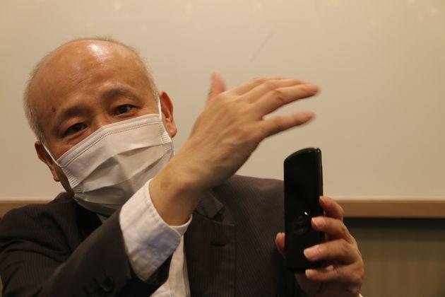 自社製品の強みを力説するアイフライテック日本法人の馮躍社長