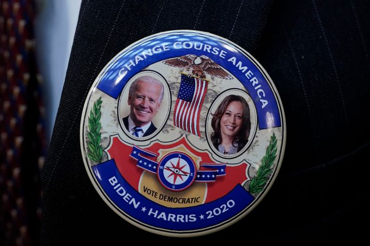 A Joe Biden/Kamala Harris election button. The new administration has pledged to make tackling the climate crisis a priority.