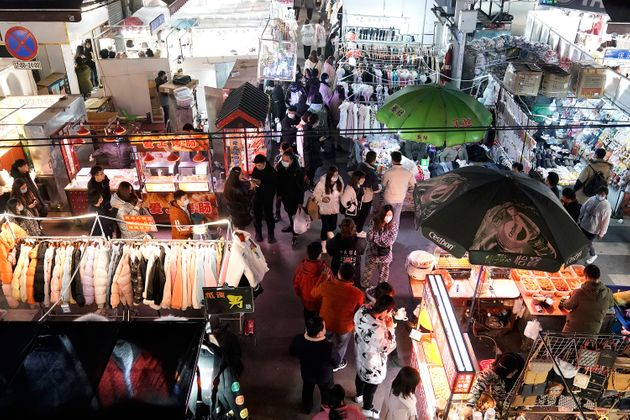 WUHAN, CHINA - DECEMBER 10: (CHINA OUT) A general view of a night market on December 10, 2020 in Wuhan,...