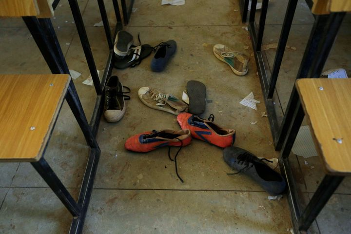 Shoes of the kidnapped students from Government Science Secondary School are seen inside a classroom in Kankara, Nigeria, on