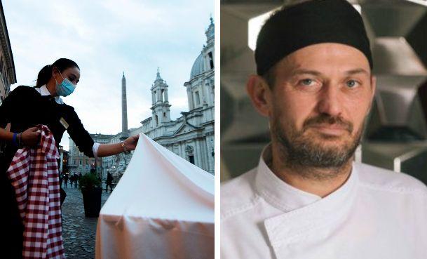 A destra, lo chef Massimiliano Valenti